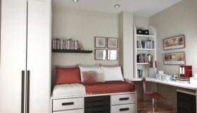 mobilier-camera-copii-alb-cu-asternuturi-maro