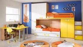 mobilier-camera-copii-albastru-portocaliu-alb