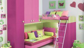 mobilier-camera-copii-mov-roz-si-verde