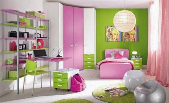 mobilier-camera-copii-roz-cu-verde