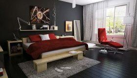 mobilier dormitor PAL cu lenjerie rosie