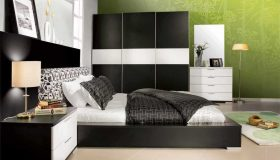 mobilier dormitor alb cu gri inchis