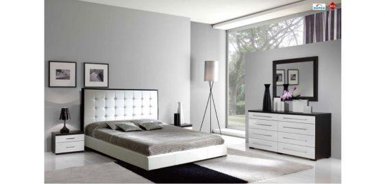 mobilier dormitor alb cu maro inchis 3