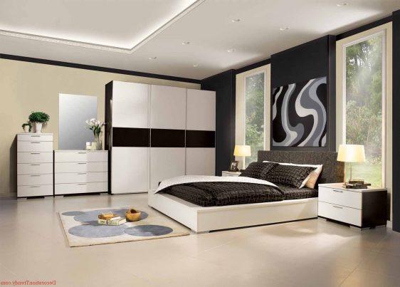 mobilier dormitor alb cu maro inchis 6