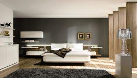 mobilier dormitor alb cu maro stil modern