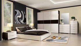 mobilier dormitor alb cu negru