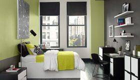 mobilier dormitor negru cu alb 2