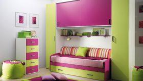 mobilier-modern-camera-copii-roz-cu-verde