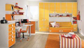 moilier-camera-copii-portocaliu